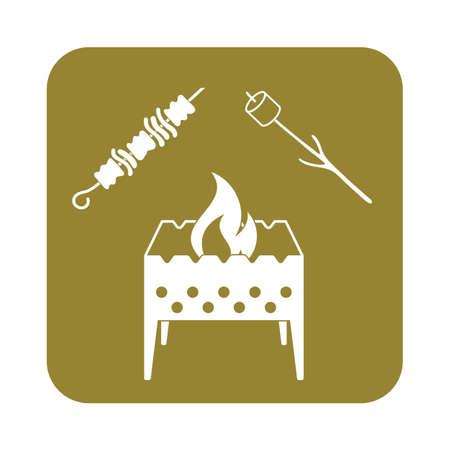 brazier: Brazier, zephyr and kebab icon. Vector illustration Illustration