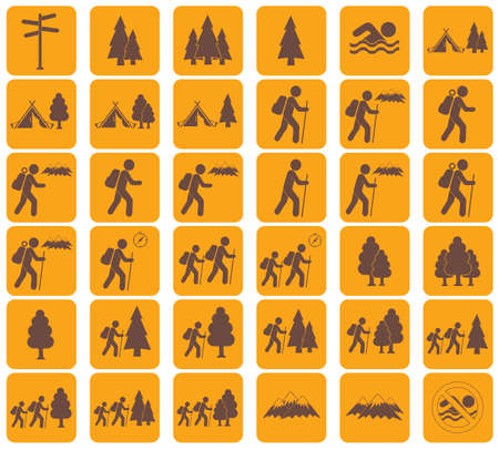 Set of Hiking tourists icon. Vector illustration