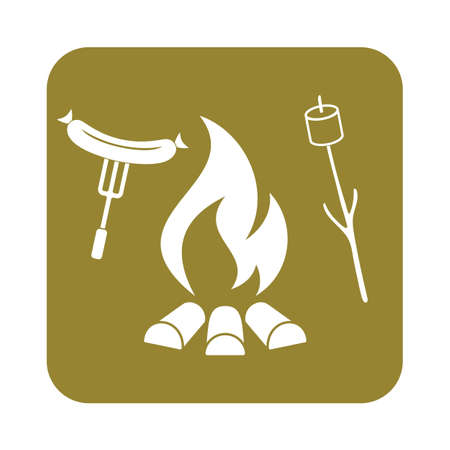 fried chicken wings: Grilled sausage and zephyr icon. Vector illustration