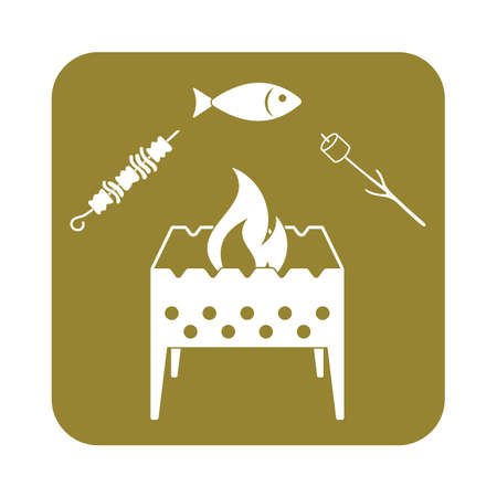 zephyr: Grilled fish, zephyr and  kebab icon. Vector illustration