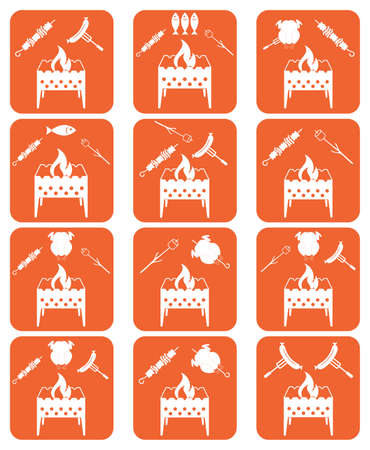 Brazier coocking icons set. Vector illustration