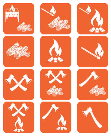 Set of campfire, ax and firewood icons. Vector illustration