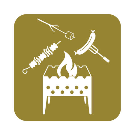 roaster: Brazier, zephyr, kebab and sausage icon. Vector illustration