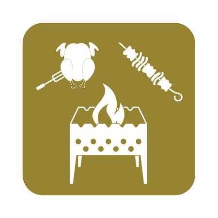 roaster: Brazier kebab and chicken icon. Vector illustration