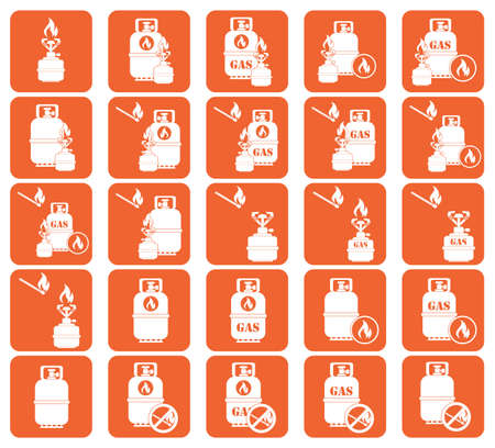 gas bottle: Set of camping stove and gas bottle icon vector. Vector illustration.