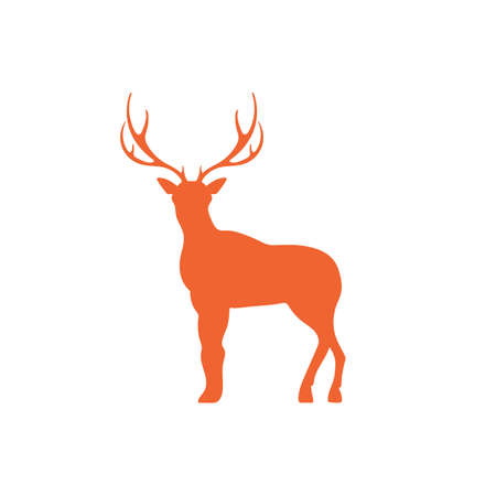 dignified: Silhouette of the deer. Flat deer icon.