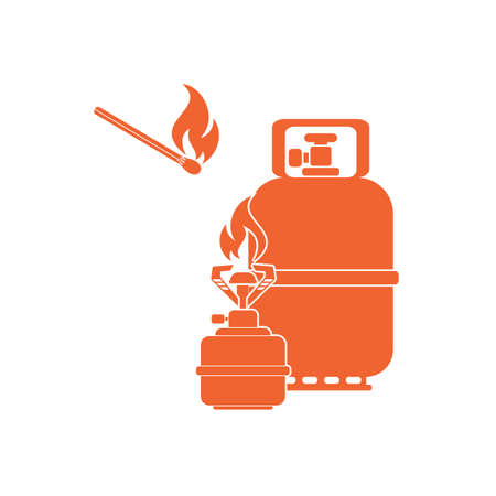 gas bottle: Camping stove with gas bottle icon vector. Vector illustration. Illustration