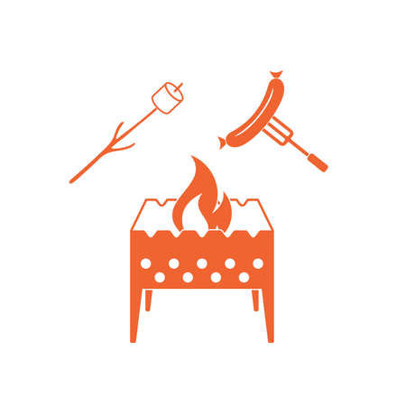 roaster: Brazier, zephyr and sausage icon. Vector illustration