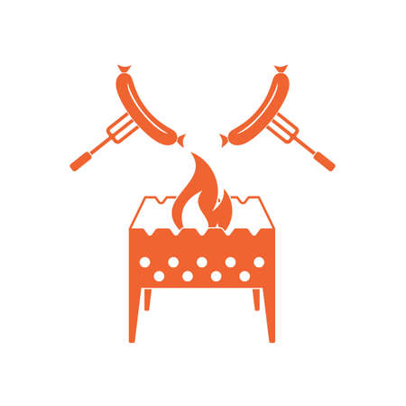 Brazier and sausage icon. Vector illustration