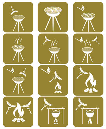 Barbecue sausage icons set. Vector illustration.