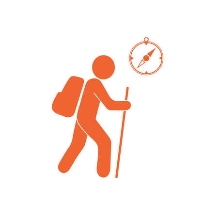 Hiking tourists with compass icon. Vector illustration