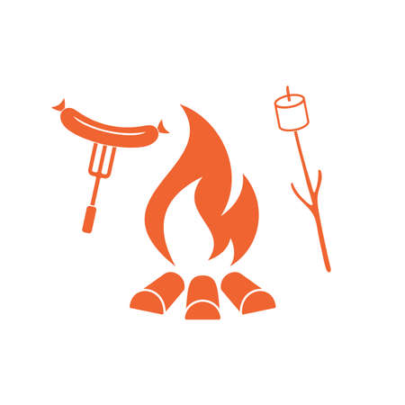 cooked meat: Grilled sausage and zephyr icon. Vector illustration