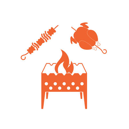 roaster: Brazier, kebab and chicken . Vector illustration