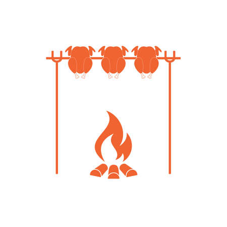 fried chicken wings: Grilled chicken icon. Vector illustration