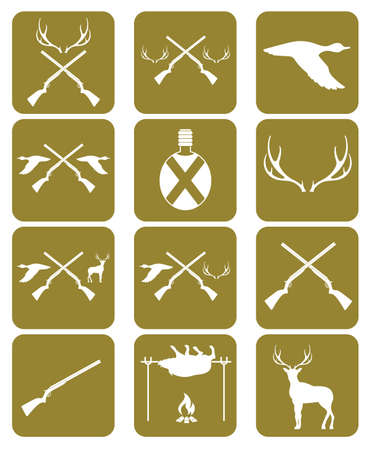 wildlife shooting: Hunting equipment and trophies icons set. Vector illustration