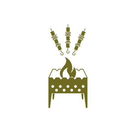 Brazier grill avec kebab icône. Vector illustration