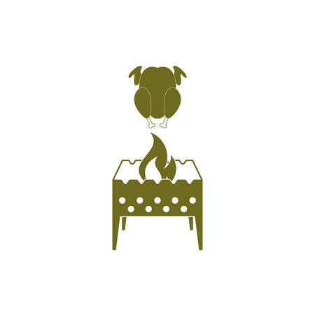 Brazier and chicken icon. Vector illustration Illustration