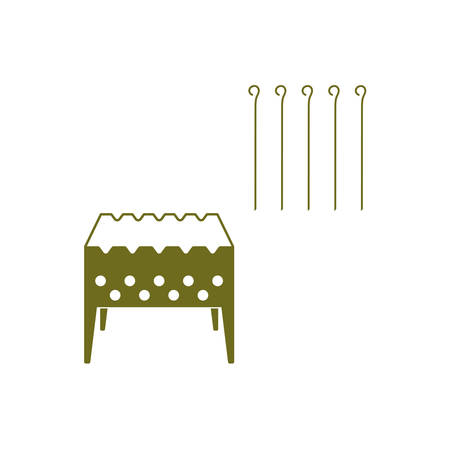 chafing dish: Brazier grill with skewers icon. Vector illustration
