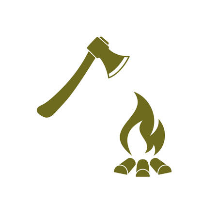 The ax and campfire icon. Flat Vector illustration Illustration