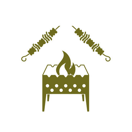 salamandre: Brazier grill avec kebab icône. Vector illustration
