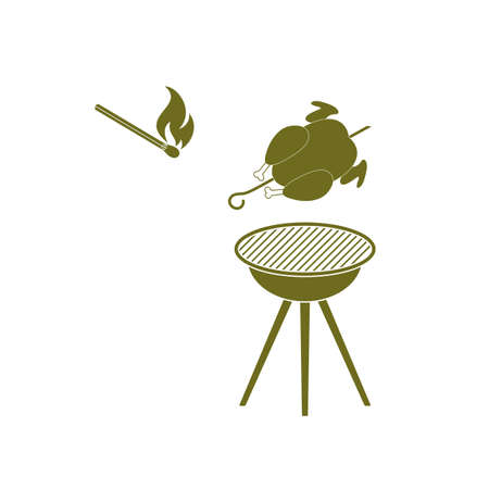 barbecue grill with chicken icon. Vector illustration Illustration