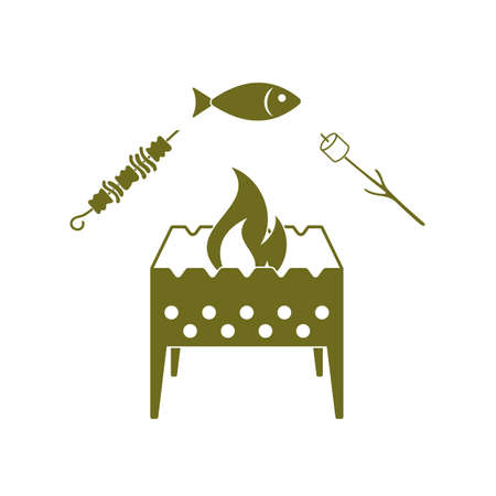fried chicken wings: Grilled fish, zephyr and  kebab icon. Vector illustration