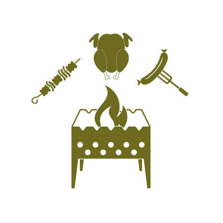roaster: Brazier, kebab, chicen and sausage icon. Vector illustration