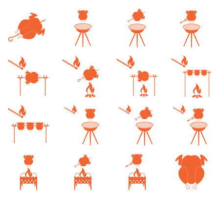 grilled chicken: Grilled chicken icons set. Vector illustration Illustration