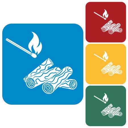 Bois de chauffage et allumettes icône sur fond blanc. Illustration vectorielle