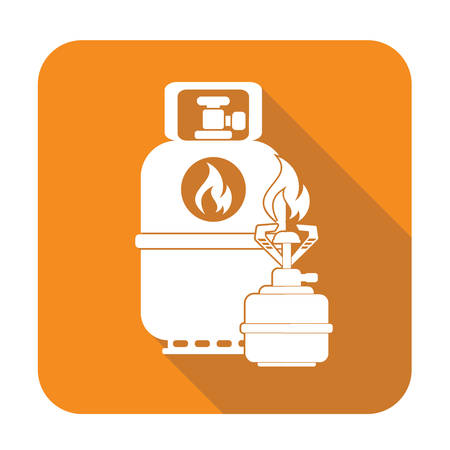gas stove: Camping stove with gas bottle icon. Flat icon isolated. Vector illustration Illustration