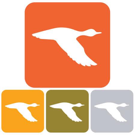 Silhouette flying duck Vector illustration.
