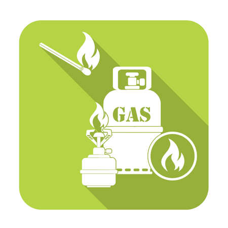 Camping stove with gas bottle icon vector. Vector illustration. Illustration