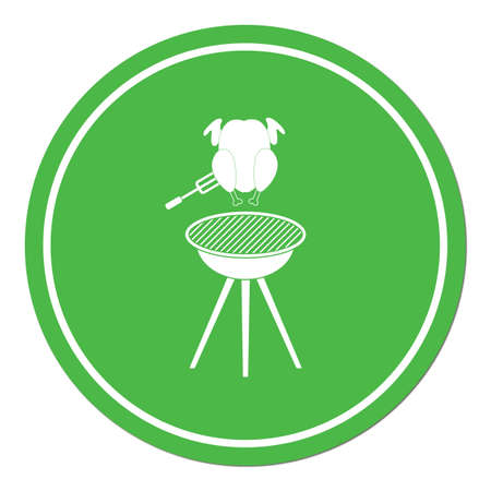 barbecue grill with chicken icon. Vector illustration Vectores