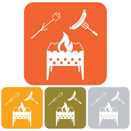 Brazier, zephyr and sausage icon. Vector illustration. Illustration