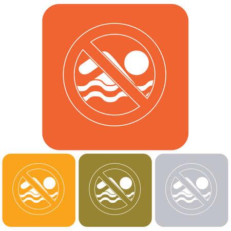 no swimming sign: No swimming prohibition sign icon. Vector illustration.