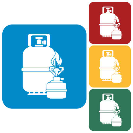 gas stove: Camping stove with gas bottle icon vector. Vector illustration. Illustration