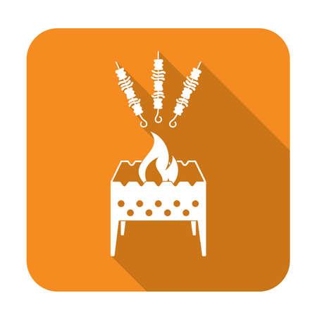 parrilla brasero con el icono de kebab. ilustración vectorial Vectores