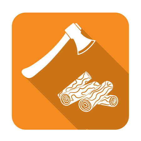 The ax and firewood icon. Flat Vector illustration Illustration