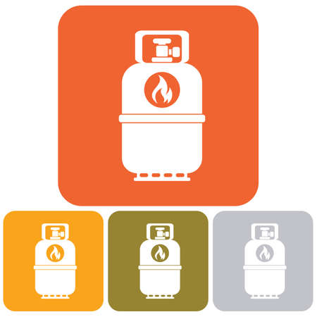 butane: Camping gas bottle icon. Flat icon isolated. Vector illustration. Illustration
