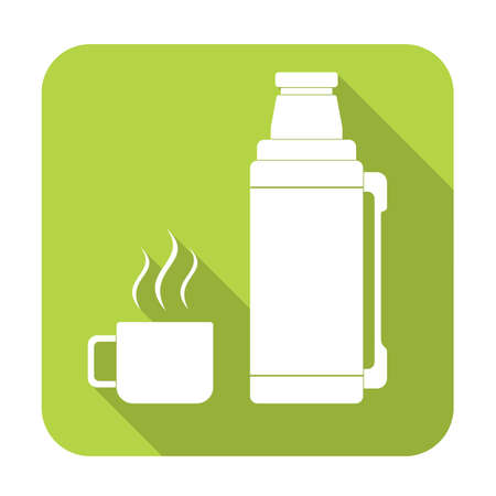 Thermos container icon, camping and hiking equipment. Vector illustration