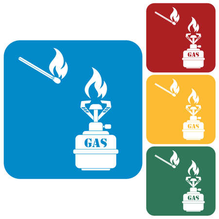 gas stove: Camping stove icon vector. Vector illustration.