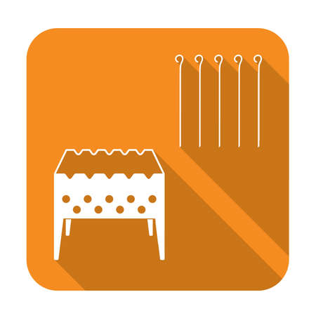 Brazier grill with skewers icon. Vector illustration
