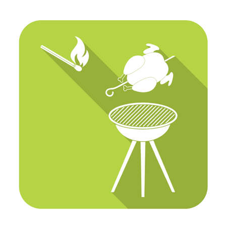 chafing dish: barbecue grill with chicken icon. Vector illustration Illustration