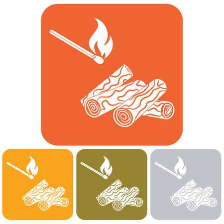 salamandre: Bois de chauffage et des allumettes icône Vector illustration Illustration