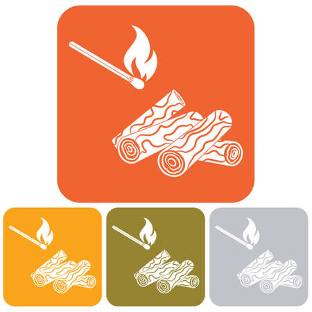 chafing dish: Firewood and matches icon Vector illustration
