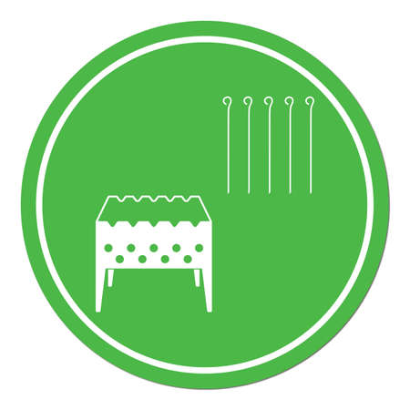 Brazier grill with skewers icon. Vector illustration.