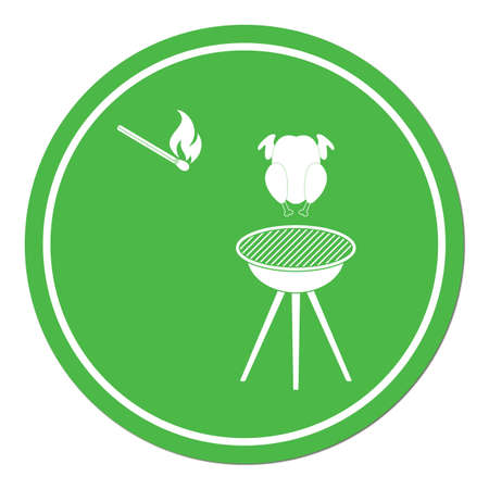 Barbecue grill with chicken icon. Vector illustration.