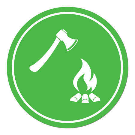 The ax and campfire icon. Flat Vector illustration.