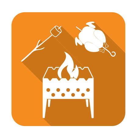 Brazier, zephyr and chicken icon. Vector illustration