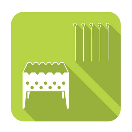 Brazier grill with skewers icon Illustration